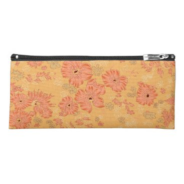 Beach Themed Orange Flowered Pencil Case