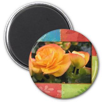 Orange Flowers 2 Inch Round Magnet