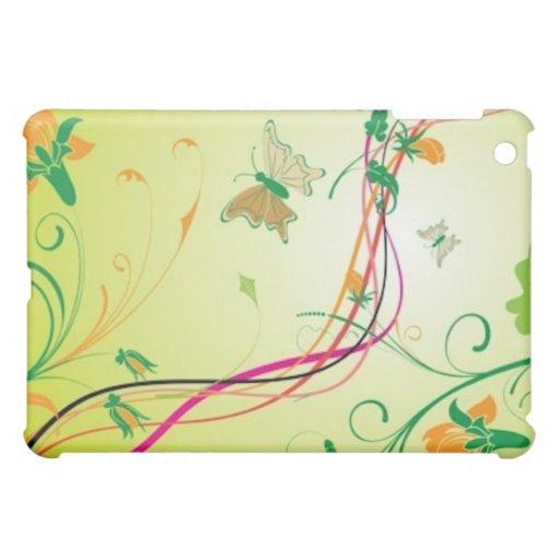 Orange Flowers and Butterflies iPad Case