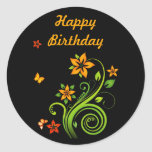 Orange Flowers and Butterflies Stickers