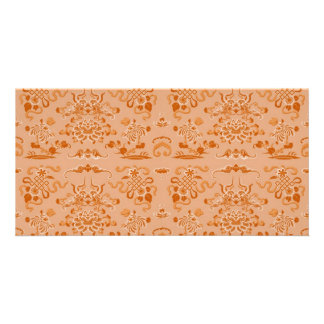 Orange Flowers and Shapes Personalized Photo Card