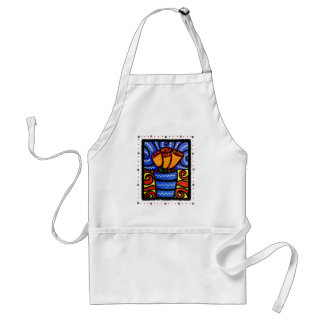 Orange Flowers Blue Vase Artsy Kitchen Adult Apron
