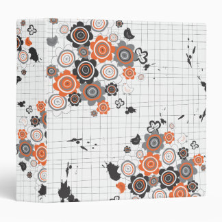 Orange Flowers Chicks Grunge Ink Blots Doodles Kid 3 Ring Binder
