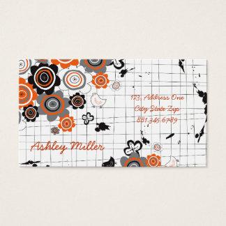 Orange Flowers Chicks Grunge Ink Blots Doodles Kid Business Card