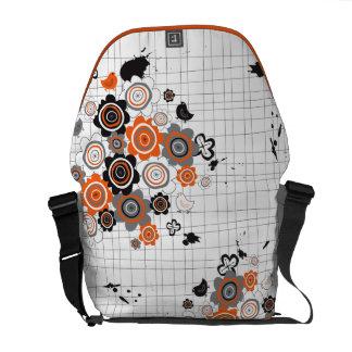 Orange Flowers Chicks Grunge Ink Blots Doodles Kid Courier Bag