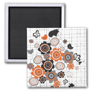 Orange Flowers Chicks Grunge Ink Blots Doodles Kid 2 Inch Square Magnet