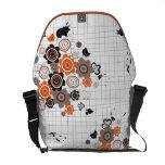Orange Flowers Chicks Grunge Ink Blots Doodles Kid Messenger Bags