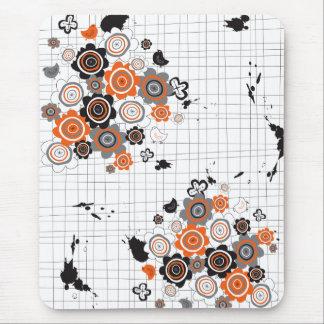 Orange Flowers Chicks Grunge Ink Blots Doodles Kid Mouse Pad