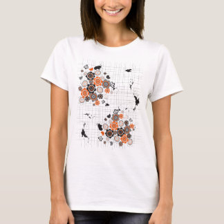 Orange Flowers Chicks Grunge Ink Blots Doodles Kid T-Shirt