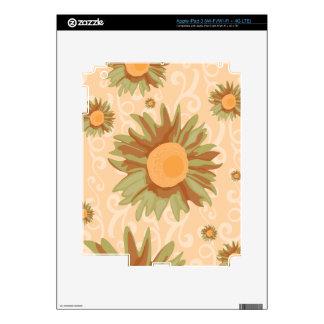 Orange Flowers Decals For iPad 3