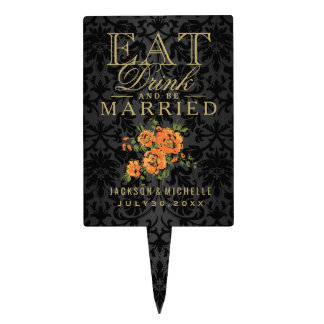 Orange Flowers - Eat, Drink and Be Married Cake Topper
