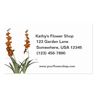 Orange Flowers Florist Shop Double-Sided Standard Business Cards (Pack Of 100)