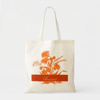 Orange flowers Hawaii reusable souvenir bag