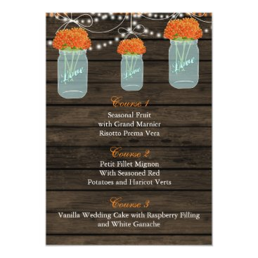 orange flowers in a mason jar wedding menu cards