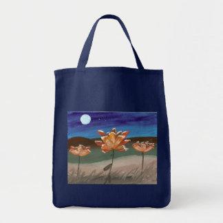 Orange Flowers in the moonlight Canvas Bag