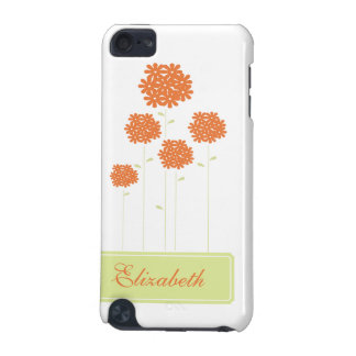 Orange  Flowers IPod Touch Case Personalized