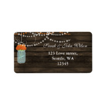 orange flowers mason jar address label