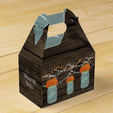 orange flowers mason jar wedding favor box