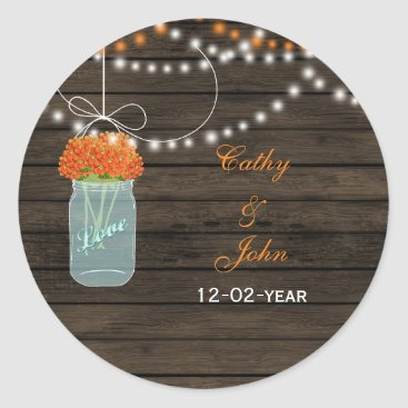 orange flowers mason jar wedding favor stickers