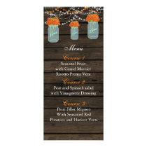 orange flowers mason jar wedding menu cards