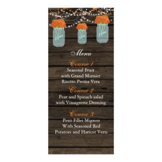 orange flowers mason jar wedding menu cards