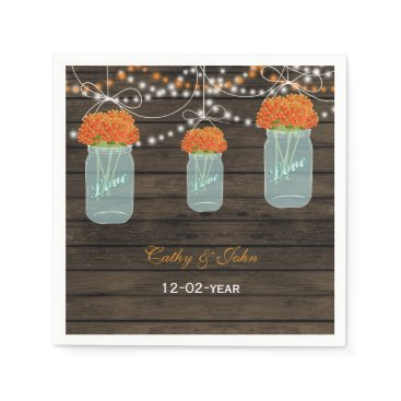 orange flowers mason jar  wedding napkin