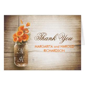 Orange flowers mason jar wedding thank you cards