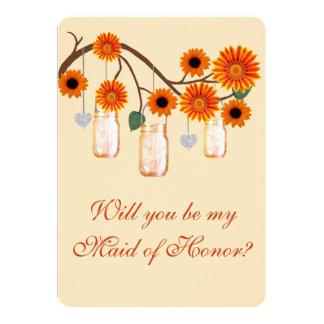 Orange Flowers Mason Jars Maid Of Honor Card Personalized Invitations