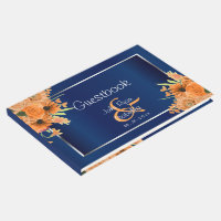 Orange Flowers on Navy Blue Guest Book