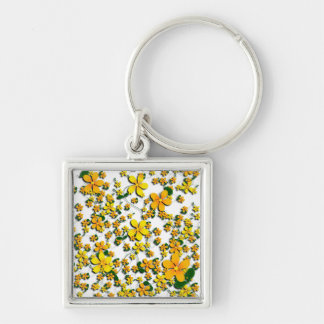 Orange Flowers on Your Favorite Color Keychains
