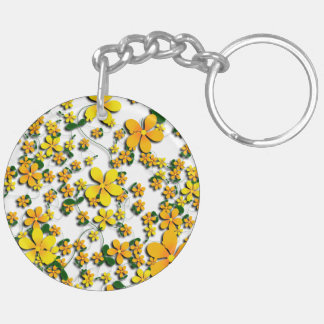 Orange Flowers on Your Favorite Color Acrylic Key Chains