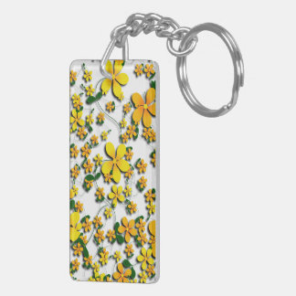 Orange Flowers on Your Favorite Color Acrylic Key Chain