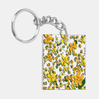 Orange Flowers on Your Favorite Color Square Acrylic Key Chain