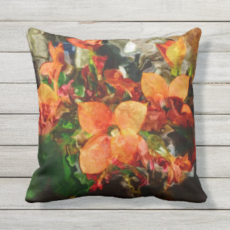 Orange Flowers Outdoor Pillow