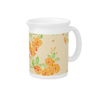 Orange flowers pattern pitchers