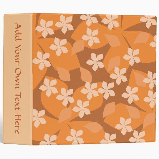 Orange Flowers. Retro Floral Pattern. 3 Ring Binder