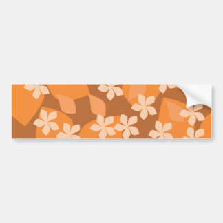 Orange Flowers. Retro Floral Pattern. Car Bumper Sticker