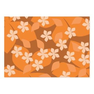 Orange Flowers. Retro Floral Pattern. Large Business Card