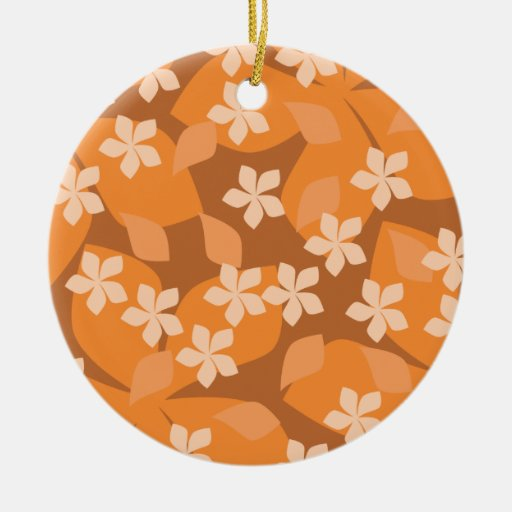 Orange Flowers. Retro Floral Pattern. Double-Sided Ceramic Round Christmas Ornament