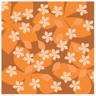 Orange Flowers. Retro Floral Pattern. Acrylic Cut Out