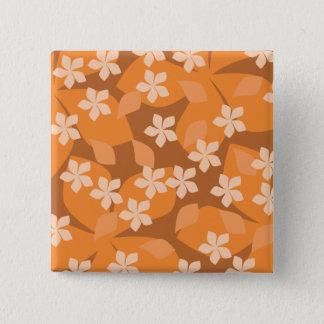 Orange Flowers. Retro Floral Pattern. Pinback Button