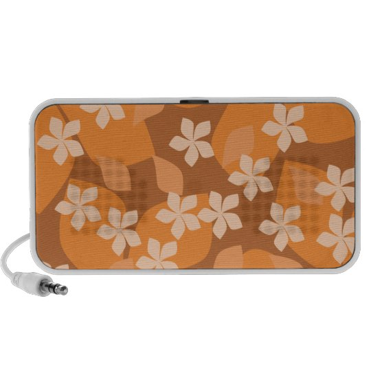 Orange Flowers. Retro Floral Pattern. Portable Speaker
