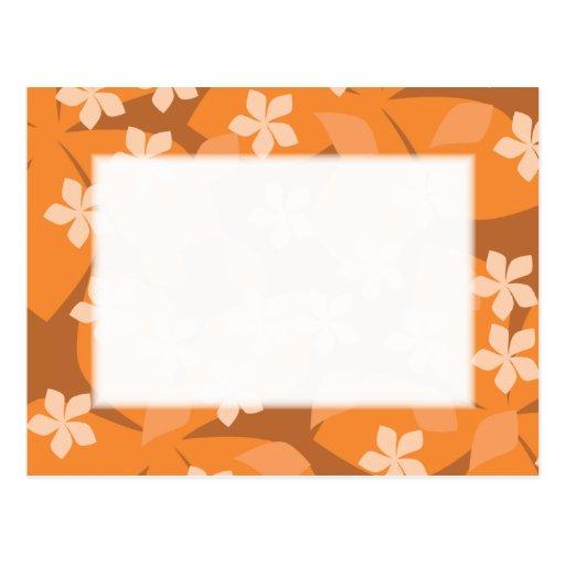 Orange Flowers. Retro Floral Pattern. Post Card