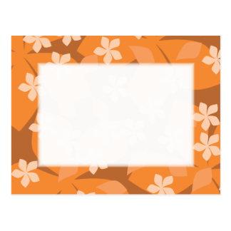 Orange Flowers. Retro Floral Pattern. Postcard