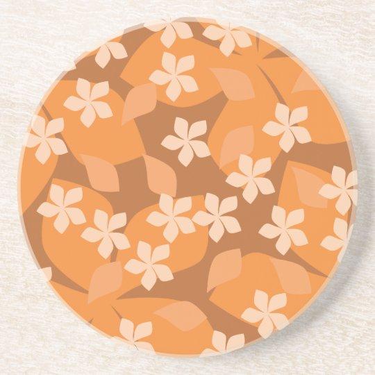 Orange Flowers. Retro Floral Pattern. Sandstone Coaster