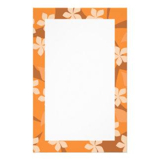Orange Flowers. Retro Floral Pattern. Stationery
