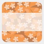 Orange Flowers. Retro Floral Pattern. Square Sticker