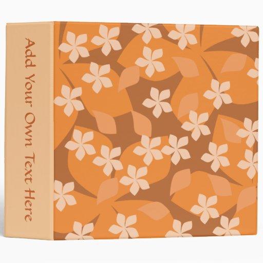 Orange Flowers. Retro Floral Pattern. Vinyl Binder