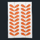 """Orange Flowers Retro Mid Century Modern Kitchen Towel<br><div class=""""desc"""">This fabulous mid century modern kitchen towel features orange flowers on a plant stalk on a white background. This will make a fabulous addition to your home decor!</div>"""