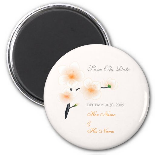 Orange Flowers Save The Date 2 Inch Round Magnet